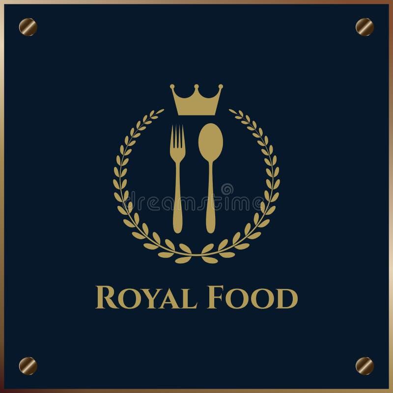 Alimento real Logo Template com forquilha, colher e coroa ilustração stock