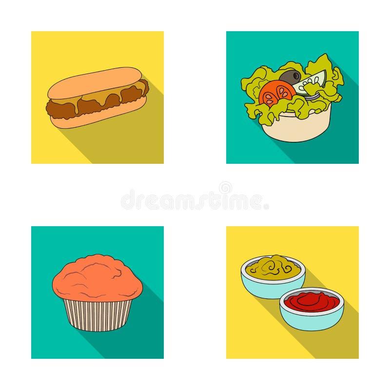 Alimento, resto, rinfreschi e l'altra icona di web nello stile piano Dolce, biscotto, crema, icone nella raccolta dell'insieme illustrazione di stock