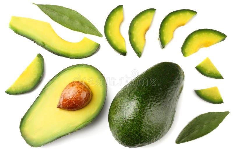 Alimento sano Avocado affettato isolato su fondo bianco Vista superiore fotografia stock libera da diritti
