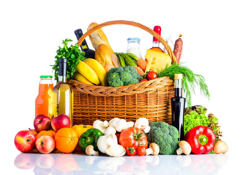 Alimento sano che mangia isolato su fondo bianco fotografia stock
