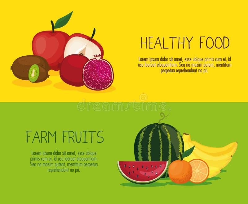 Alimento sano di frutti deliziosi illustrazione vettoriale