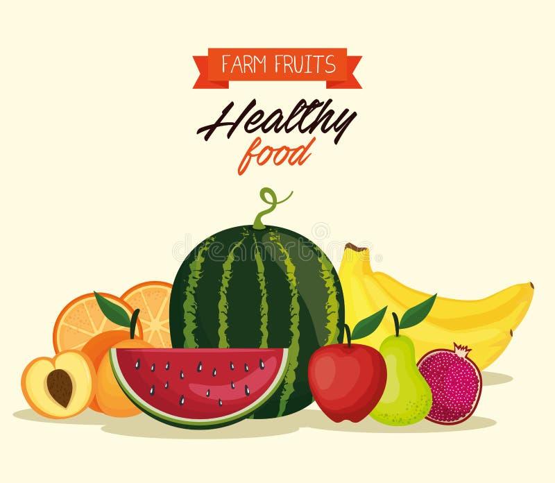 Alimento sano di frutti deliziosi illustrazione di stock