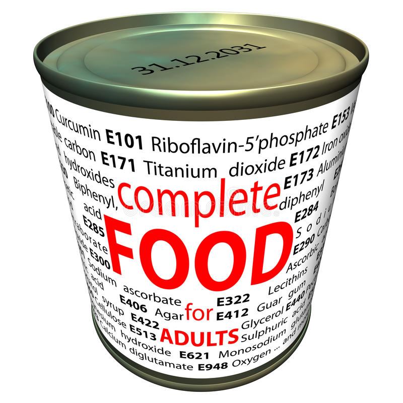 Alimento sano e chimica - additivi alimentari illustrazione di stock