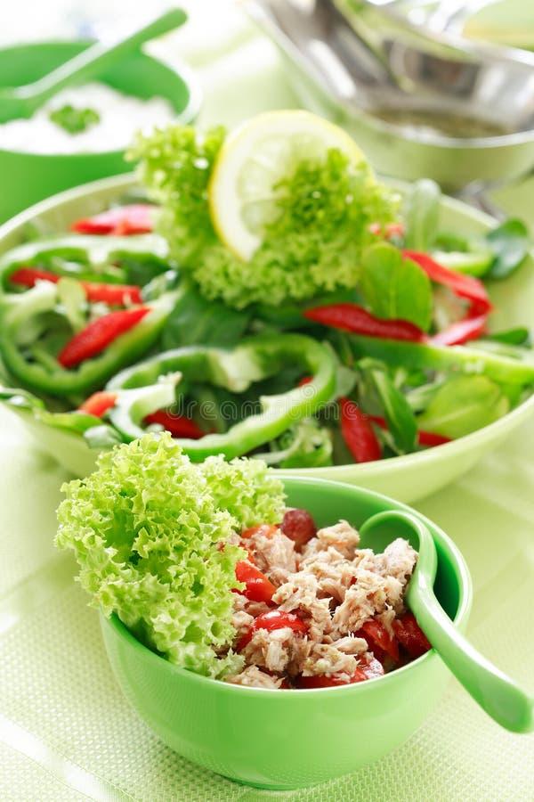 Alimento sano, insalata con i tonni immagine stock