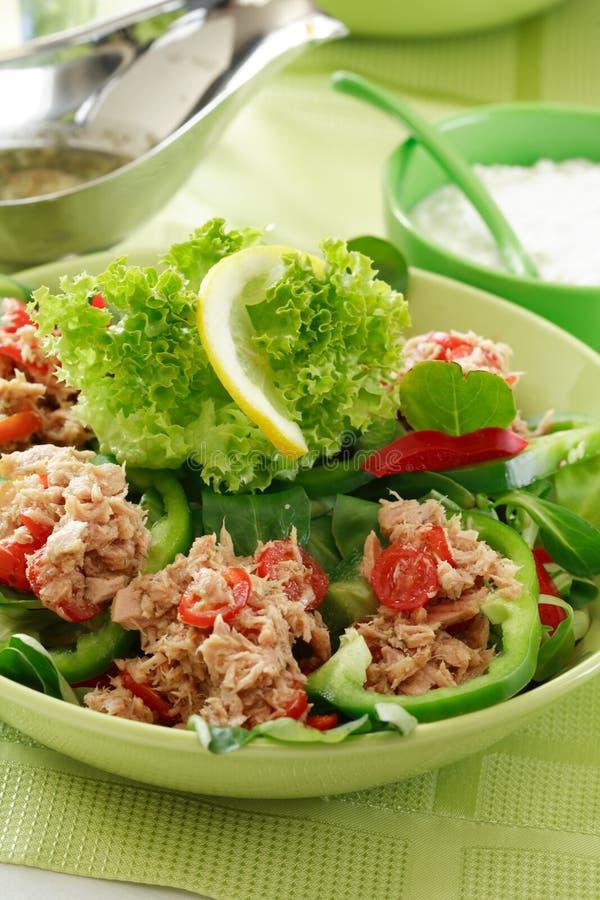 Alimento sano, insalata con i tonni fotografia stock