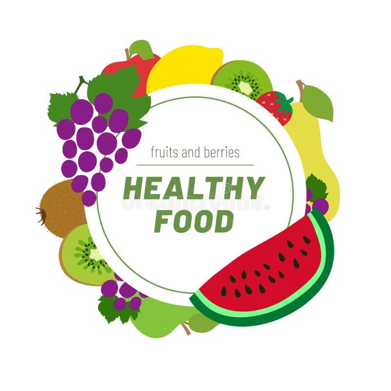 Alimento sano Menu di schizzo di frutti Blocco per grafici rotondo Cerchio di colore Mela, uva, limone, anguria, fragola, kiwi e  illustrazione di stock
