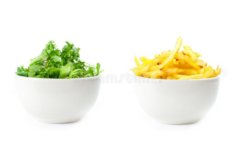 Alimento sano o non sano immagine stock