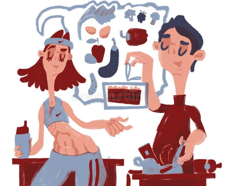 Alimento sano Persona stilistica del fumetto Lui e lei royalty illustrazione gratis