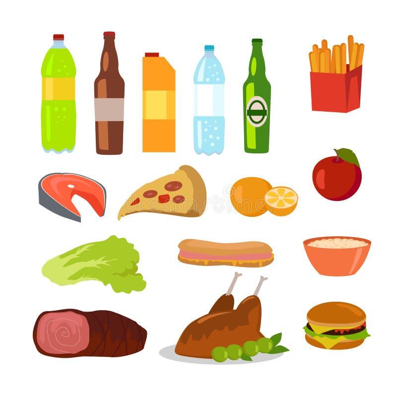 Alimento sano y malsano Iconos Editable de la comida stock de ilustración