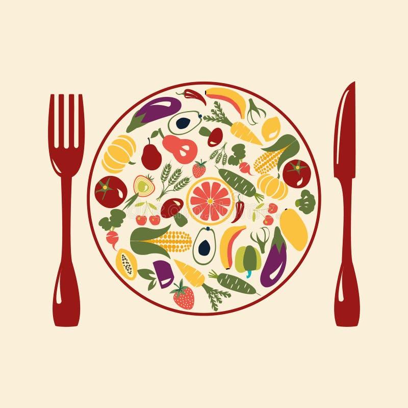 Alimento saudável, ícones do restaurante ilustração stock