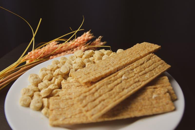 Alimento saudável, alimento alternativo, pão seco do farelo e um spikelet dos lúpulos em uma placa branca imagens de stock royalty free
