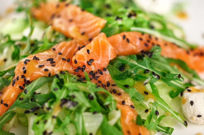 Alimento saudável do restaurante - salada salmon foto de stock royalty free