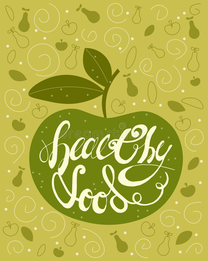 Alimento saudável do texto caligráfico Handdrawn da rotulação com Apple verde Cartão do vintage, cartaz, comprovante para a loja  ilustração royalty free