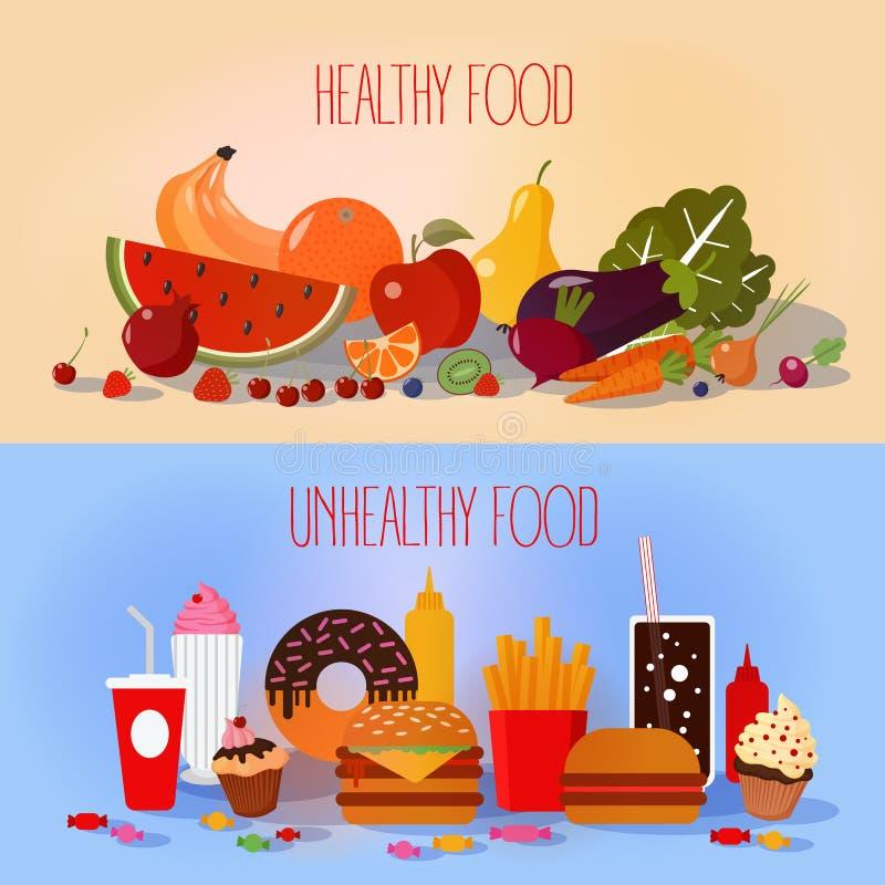 Alimento saudável e fast food insalubre ilustração royalty free