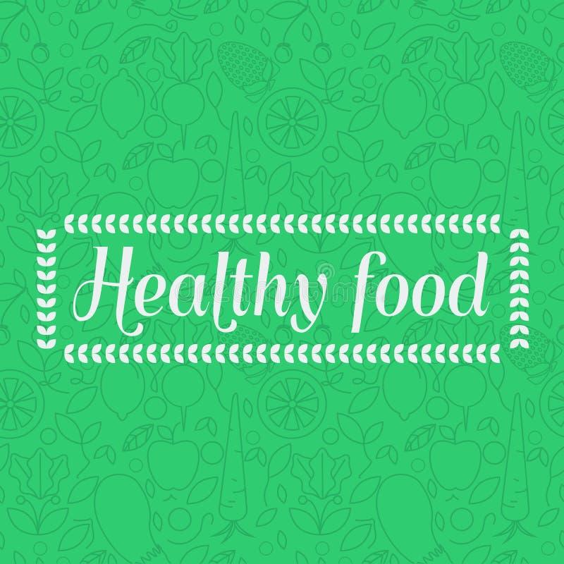 Alimento saudável - fundo sem emenda do teste padrão com ícones lineares do fruto ilustração stock