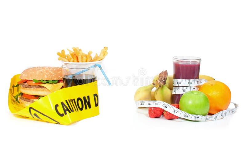 Alimento saudável ou insalubre imagem de stock
