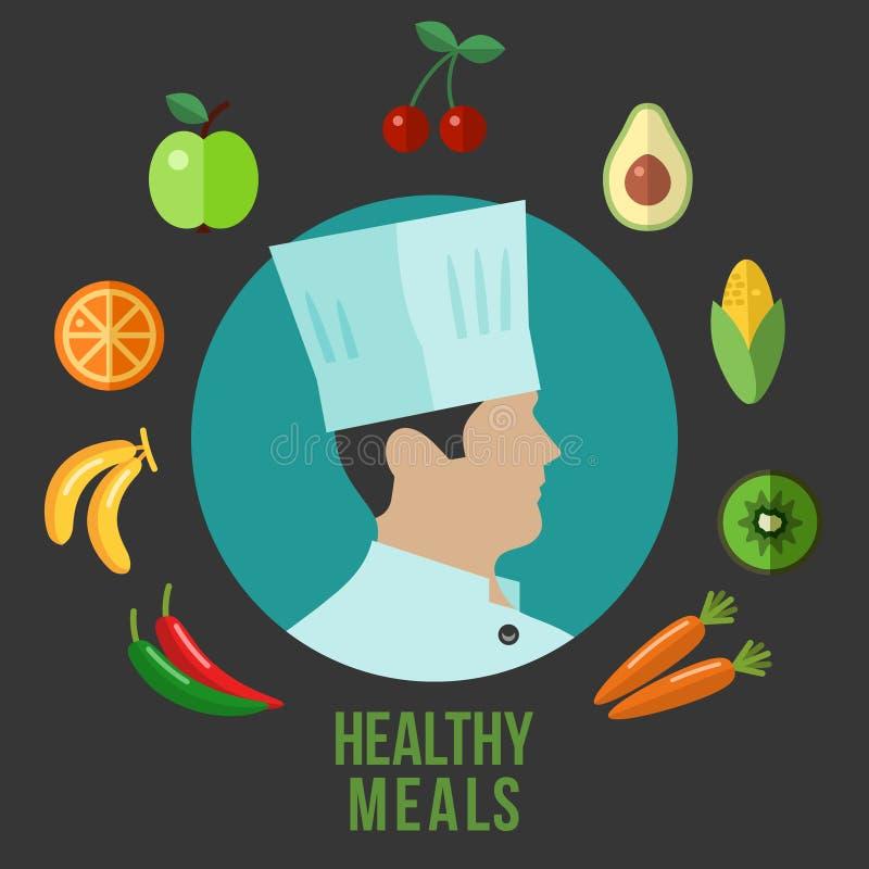 Alimento saudável que cozinha ícones lisos ilustração do vetor