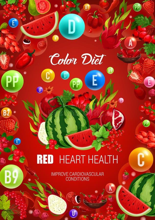 Alimento saudável vermelho da dieta da cor, saúde do coração ilustração do vetor