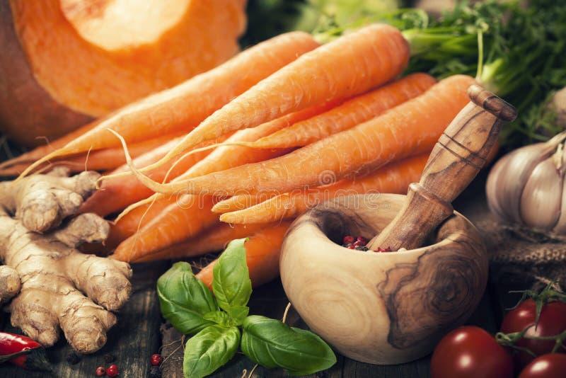 Alimento saud?vel que cozinha o fundo Ingredientes vegetais Composi??o horizontal fotografia de stock royalty free