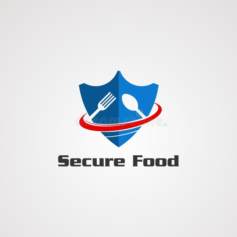 Alimento seguro com azul para proteger o conceito do vetor do logotipo da colher e da forquilha, o ícone, o elemento, e o molde p ilustração royalty free