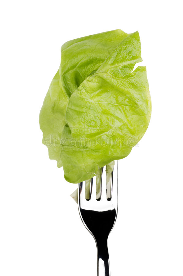 Alimento sin procesar de la ensalada de la lechuga aislado sobre blanco imagenes de archivo