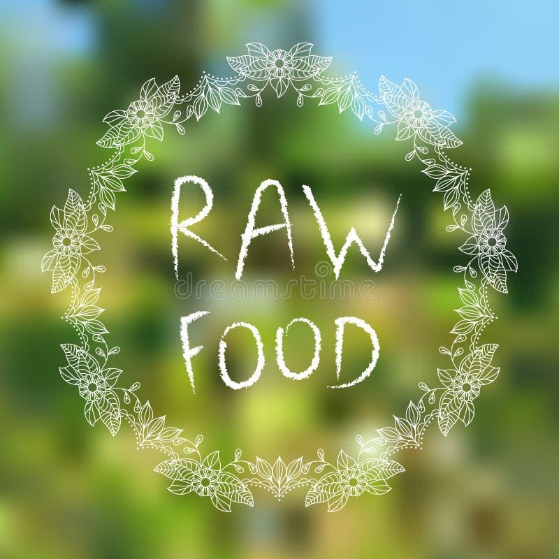 Alimento sin procesar elementos tipográficos Mano-bosquejados en fondo blured foto de archivo