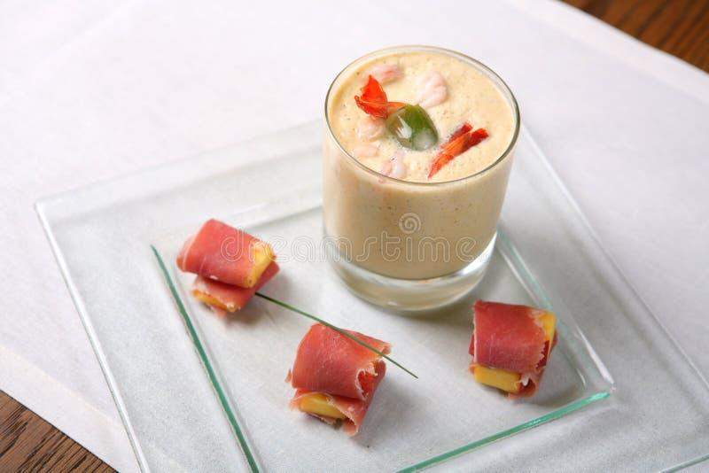 Alimento, Sopa-creme com camarão foto de stock royalty free