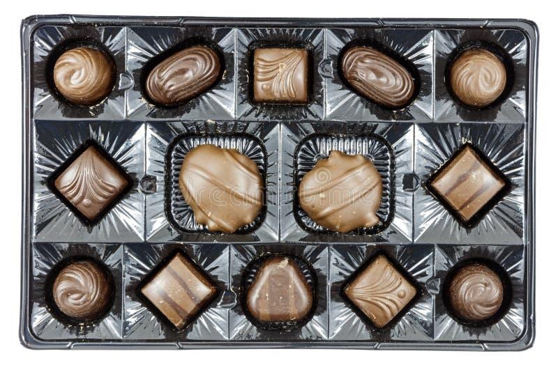 Alimento sortido dos doces da caixa dos chocolates fotografia de stock