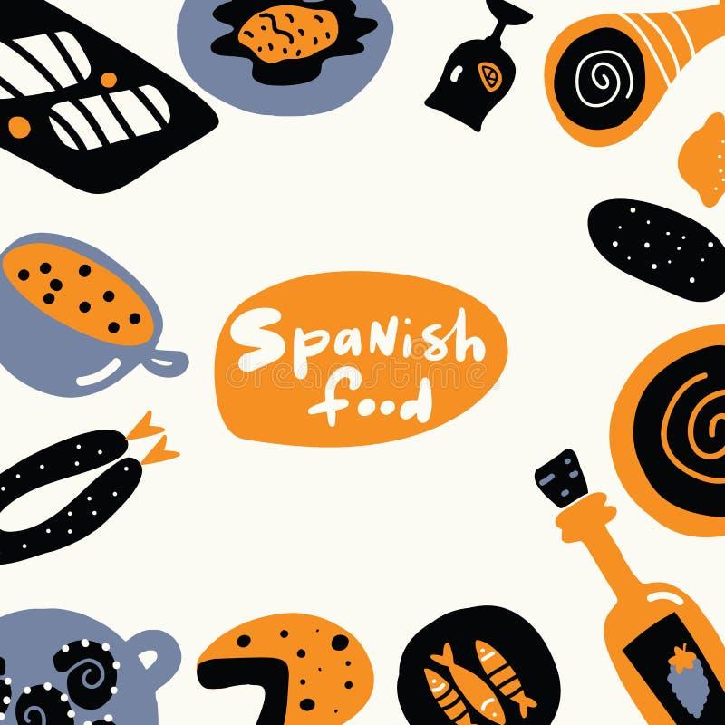 Alimento spagnolo Illustrazione disegnata a mano, fatta nel vettore Modello del menu illustrazione vettoriale
