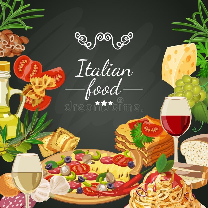 Alimento sul fondo della lavagna Cucina italiana Alimento sul fondo della lavagna Cucina italiana royalty illustrazione gratis