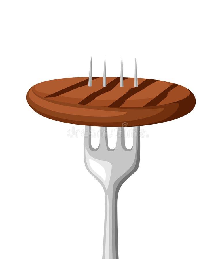 Alimento sulla forcella Carne fritta sulla forcella di acciaio inossidabile Alimento cotto Illustrazione piana di vettore isolata royalty illustrazione gratis