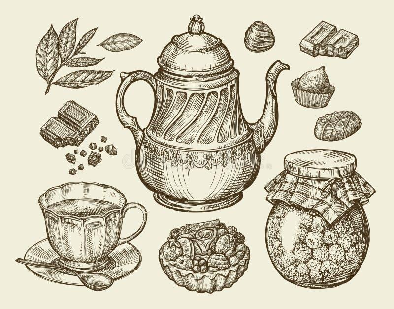Alimento, tè, dessert Teiera d'annata disegnata a mano, bollitore, tazza, inceppamento di lampone, cioccolato, caramella, plum-ca illustrazione vettoriale