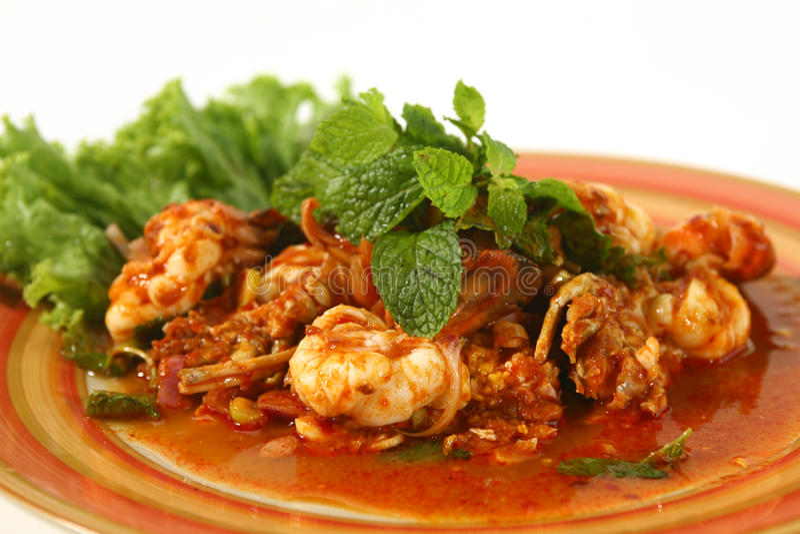 Alimento tailandés de la ensalada picante del camarón fotos de archivo libres de regalías