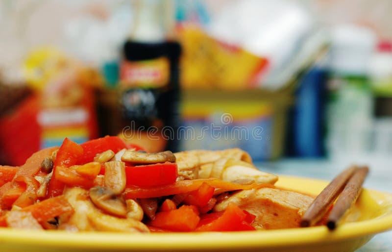 Alimento tailandés - fritada #0 del Stir fotografía de archivo