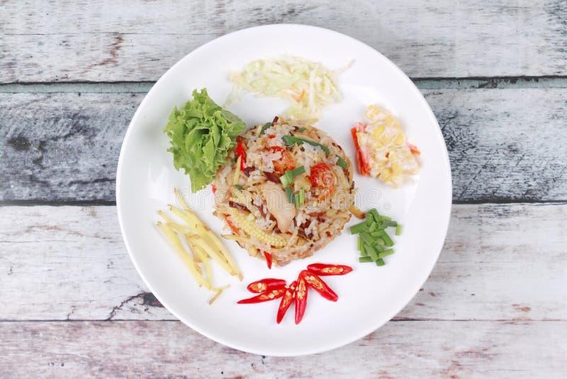 Alimento tailandês, arroz fritado do jasmim com gengibre fotos de stock royalty free