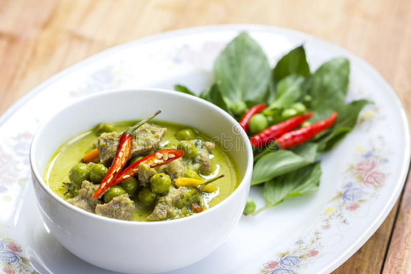 Alimento tailandês: Caril verde fotos de stock