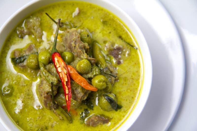 Alimento tailandês: Caril verde da vista superior foto de stock royalty free