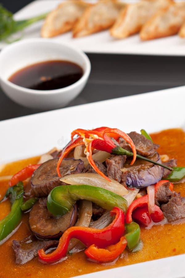 Alimento tailandês da beringela picante foto de stock