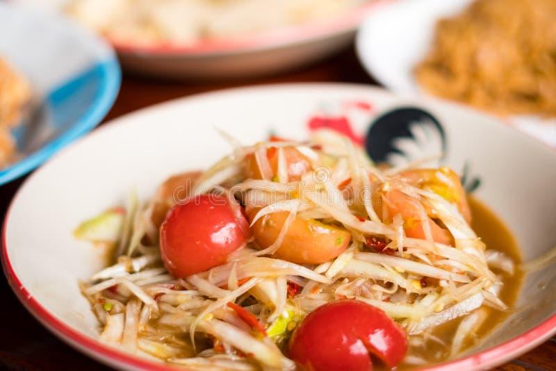 Alimento tailandês da salada da papaia fotografia de stock royalty free