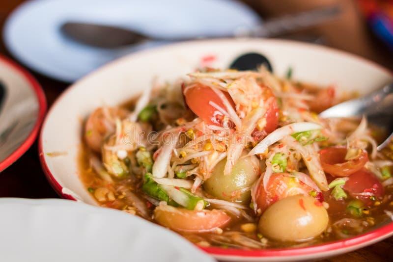 Alimento tailandês da salada da papaia fotografia de stock