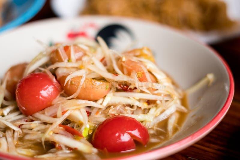 Alimento tailandês da salada da papaia fotos de stock