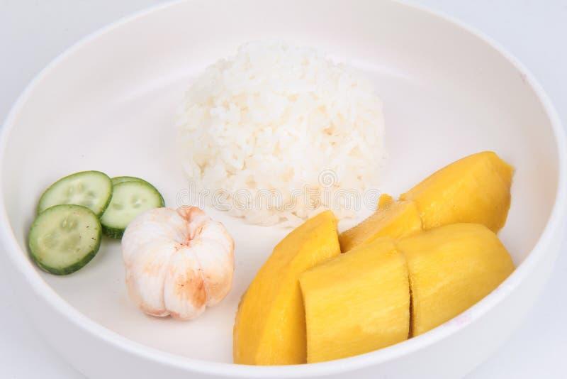 Alimento tailandês do treaditional, arroz do jasmim com vegetais e frutos foto de stock