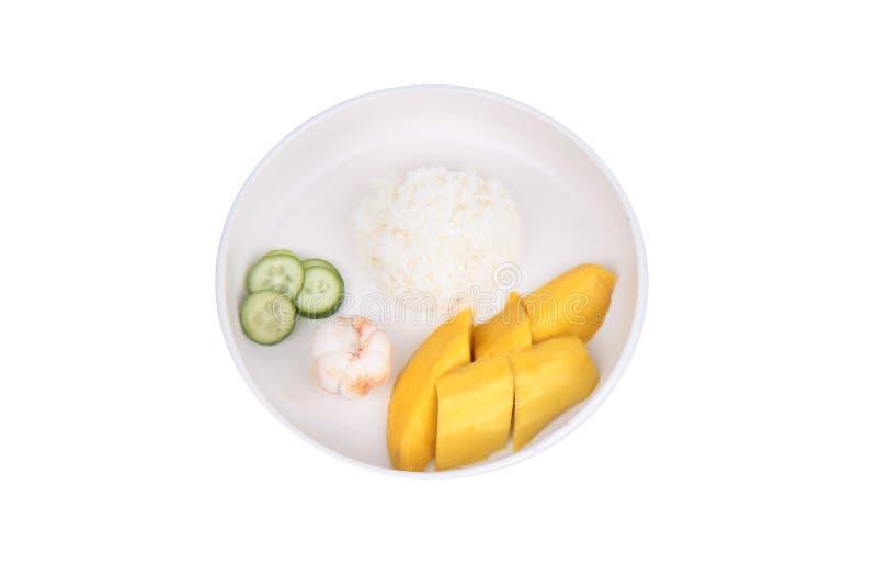Alimento tailandês do treaditional, arroz do jasmim com vegetais e frutos imagens de stock royalty free