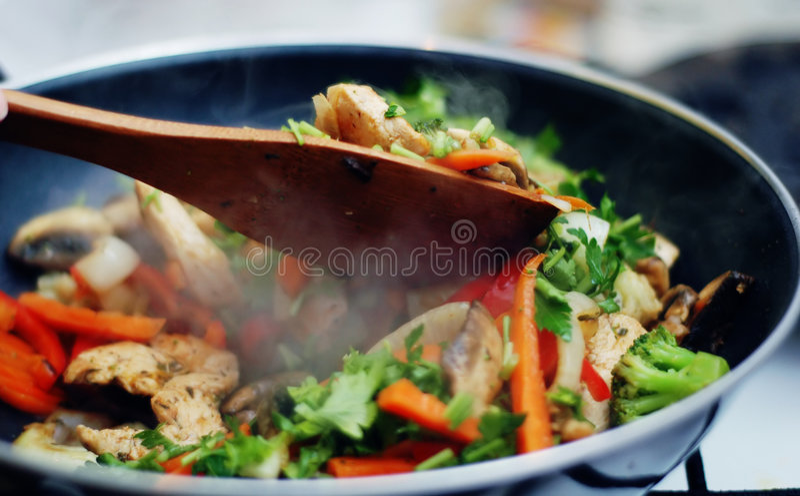 Alimento tailandês - fritada #7 do Stir foto de stock