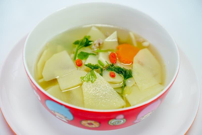 Alimento tailandês, tiro de bambu doce fervido com sopa dos ossos da carne de porco fotos de stock royalty free