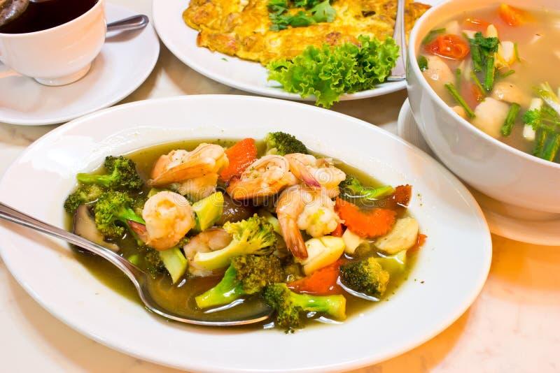 Alimento tailandês, vegetais salteado imagens de stock