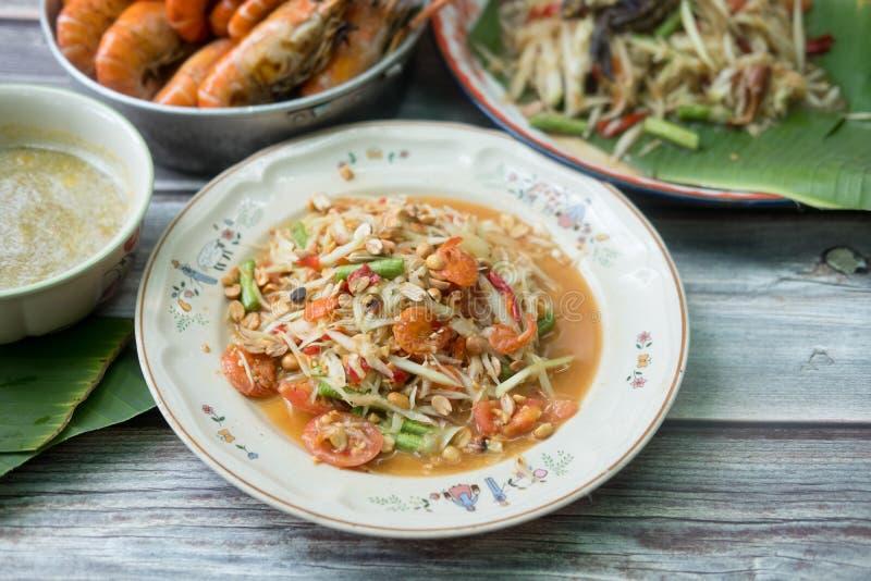 Alimento tailandese ?tum del som ?o insalata verde della papaia fotografia stock