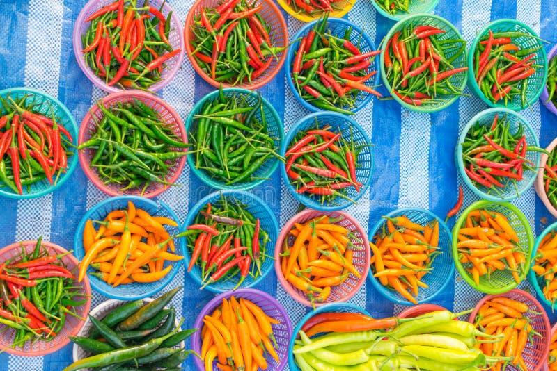Alimento tailandese della via, peperoncino rosso fotografia stock