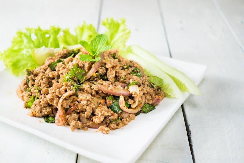 Alimento tailandese - frittura #6 di Stir Insalata piccante del porco immagine stock libera da diritti