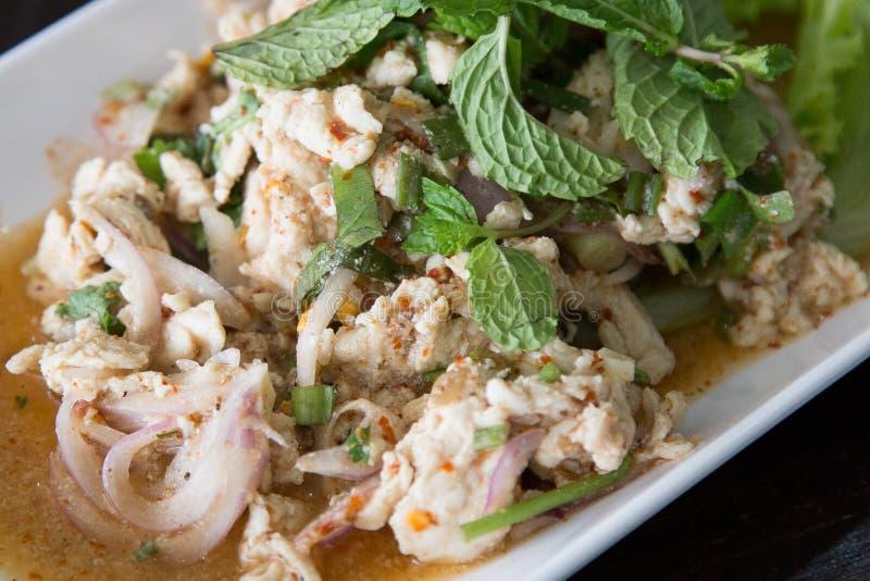 Alimento tailandese, MOO tritato piccante di Larb dell'insalata della carne di maiale fotografie stock libere da diritti